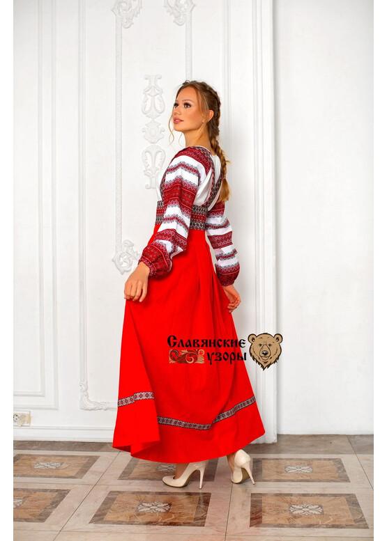 Блуза льняная с орнаментами Миролада красная