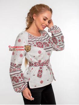 Блуза хлопковая Добромира (орнамент по груди)