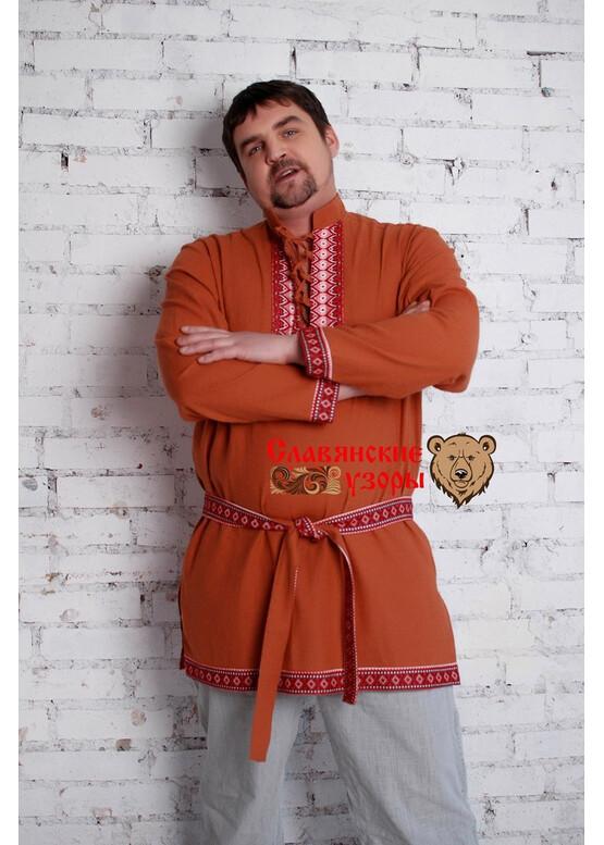 Мужская рубаха Бурый медведь с воротником