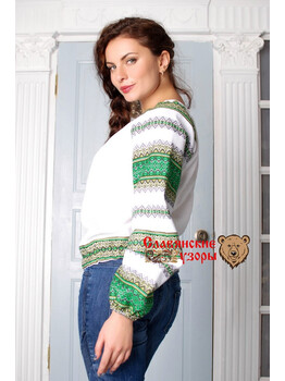 Блуза льняная Миролада зелёная