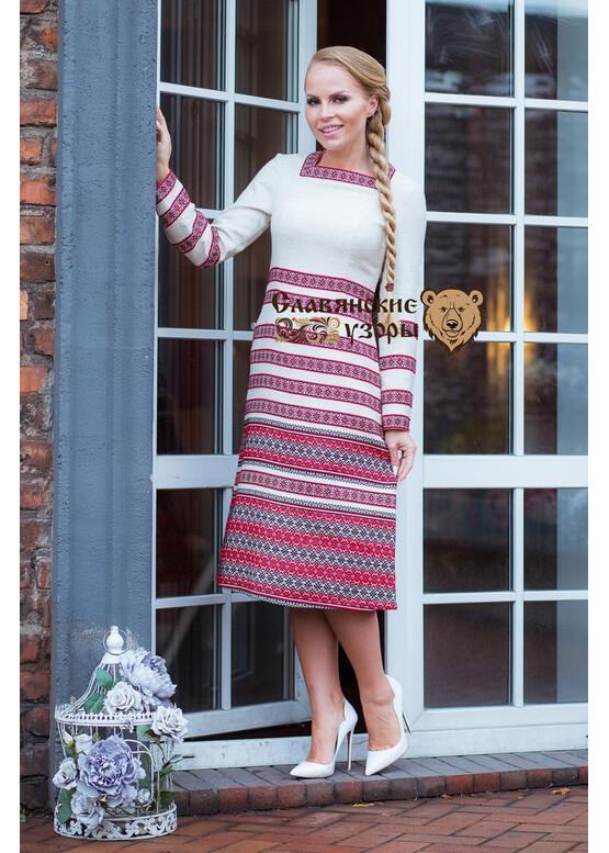 Тёплое славянское платье Лебёдушка красная