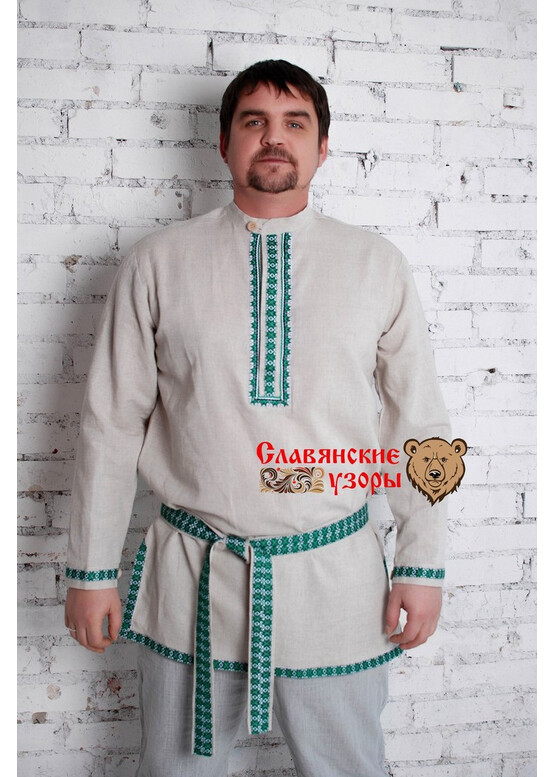 Мужская льняная рубаха Алатырь зелёный