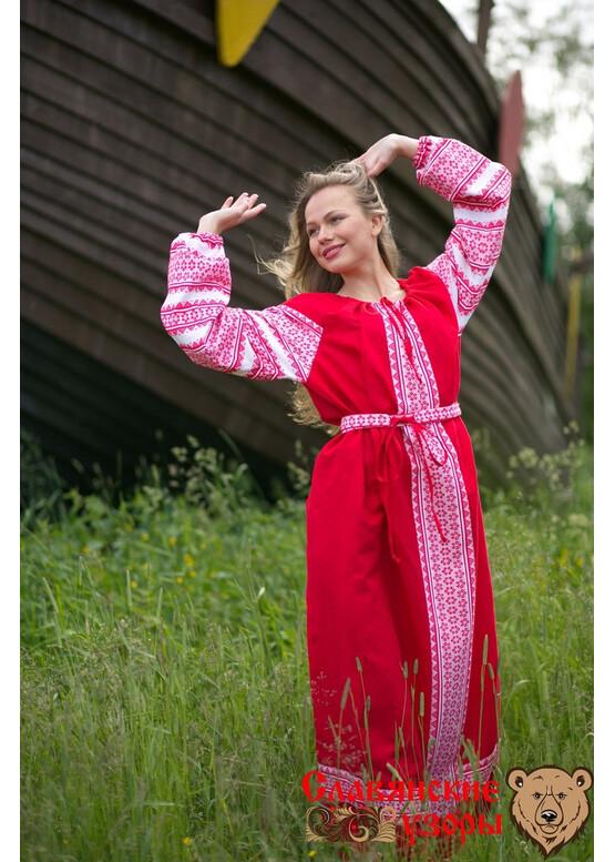 Платье льняное красное Зорюшка