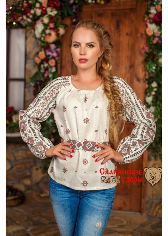 Блуза хлопковая Добромира белая орнамент