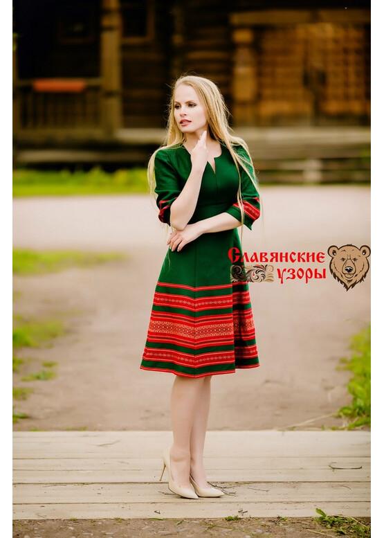 Платье современное с русскими орнаментами Листопад