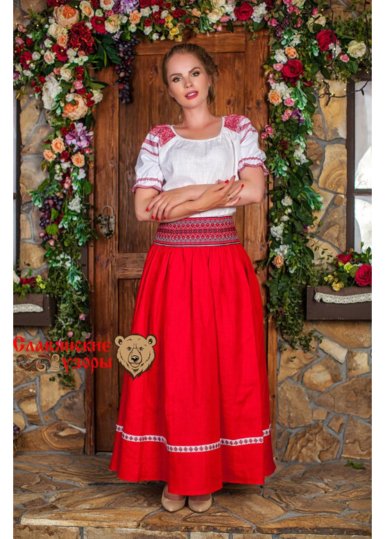 Блуза льняная Чаровница красная на белом
