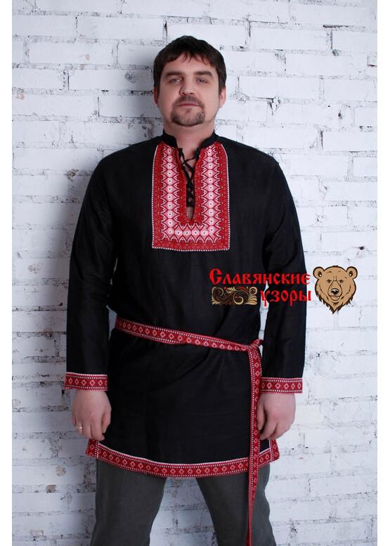 Рубаха мужская в русском стиле Чёрный медведь с воротником