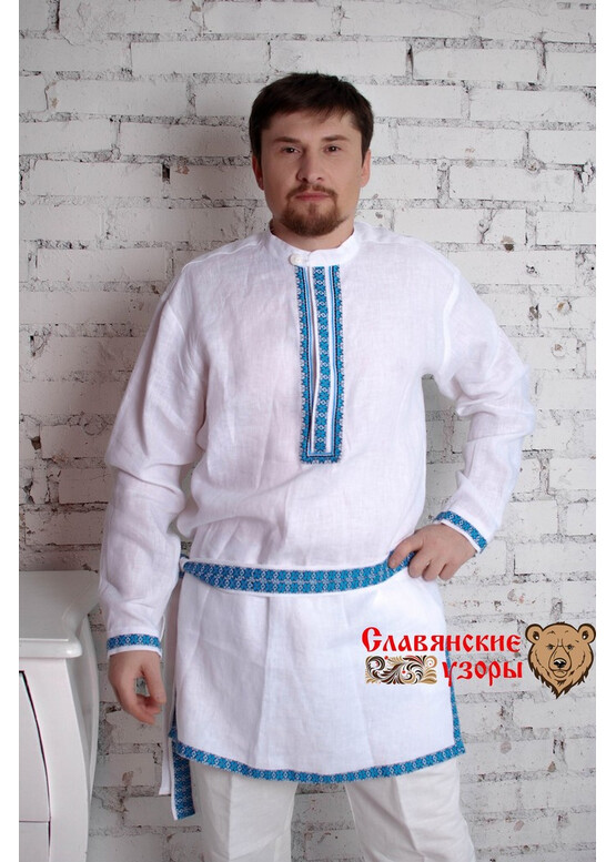 Мужская льняная рубаха Алатырь синий