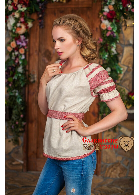 Блуза льняная Чаровница красная на льне