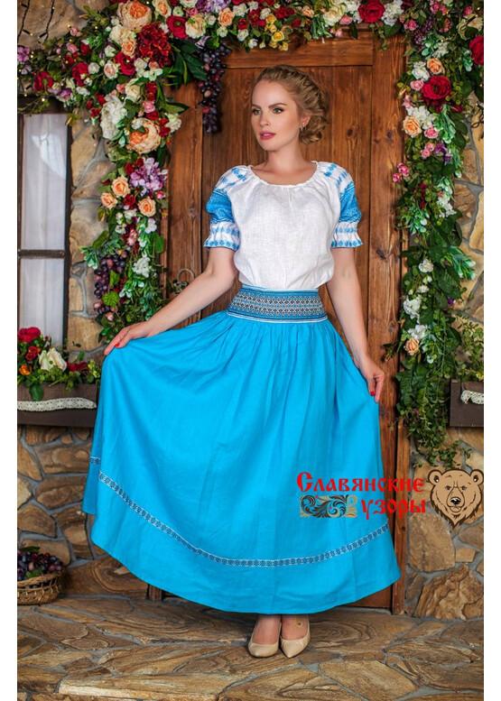 Блуза льняная Чаровница голубая