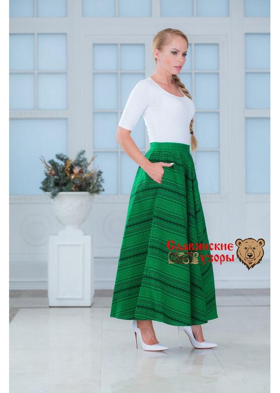 Юбка тёплая с карманами Ёлочка зелёная