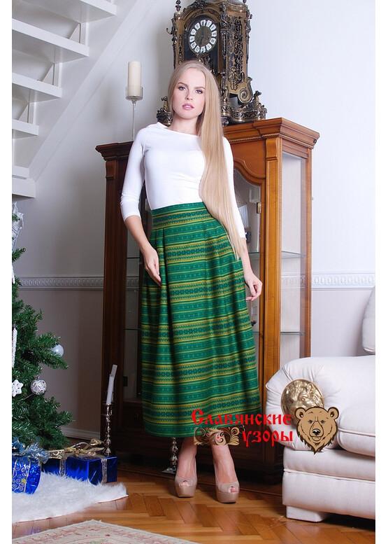 Юбка в русском стиле Орепей зелёная