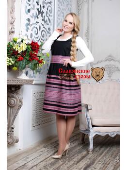 Сарафан Любава чёрно-розовая миди