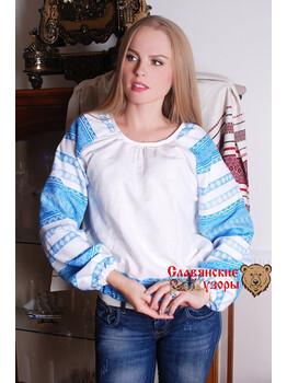 Блуза народная Миролада голубая