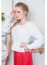 Блузка классическая льняная Славянка белая