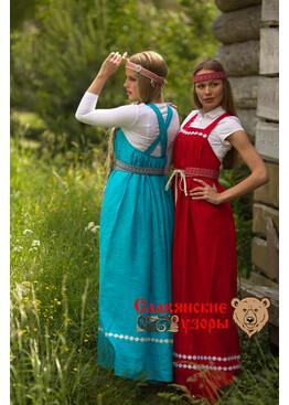 Сарафан льняной круговой красный