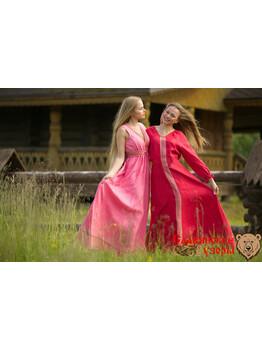 Платье льняное Жива красное