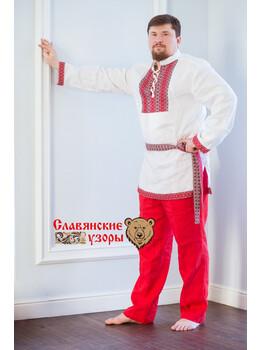 Рубаха мужская традиционная Белый медведь с воротником