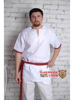 Мужская рубаха льняная с коротким рукавом
