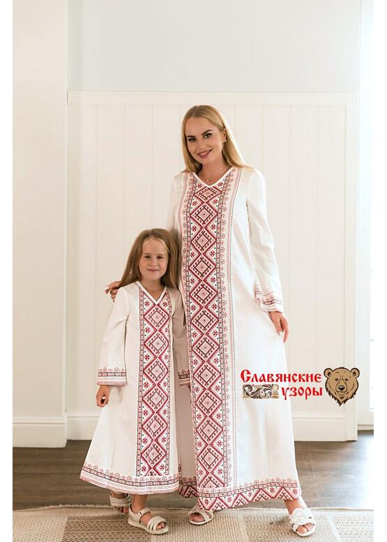 Платье славянское с орнаментами Берегиня