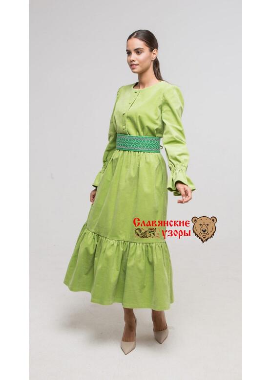 Тёплое славянское платье Лебёдушка голубая