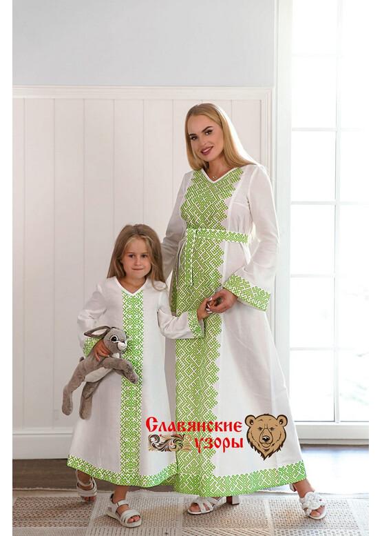 Платье славянское с орнаментами Беловодье салатовое