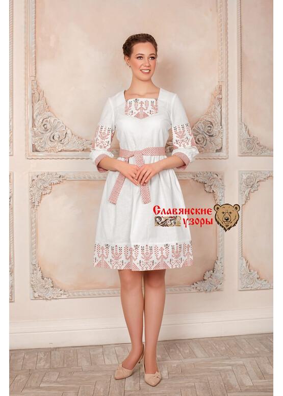 Платье в русском стиле Зов Макоши белое