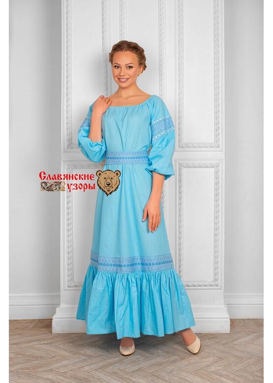 Платье из хлопка Заряна голубое