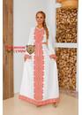 Платье славянское с орнаментами Царевна Лебедь (красно-белое)