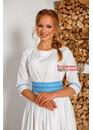 Платье праздничное в пол Надежда белая с голубым