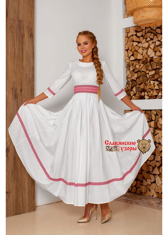 Платье праздничное в пол Надежда белая с красным
