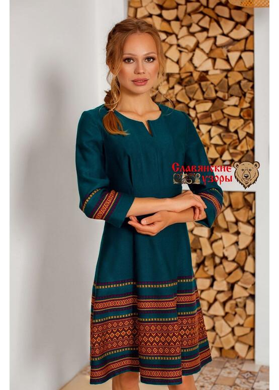 Платье современное с русскими орнаментами Бирюза