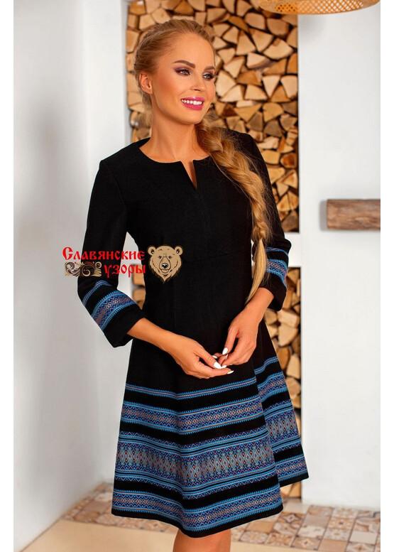 Платье современное с русскими орнаментами Летняя Ночь