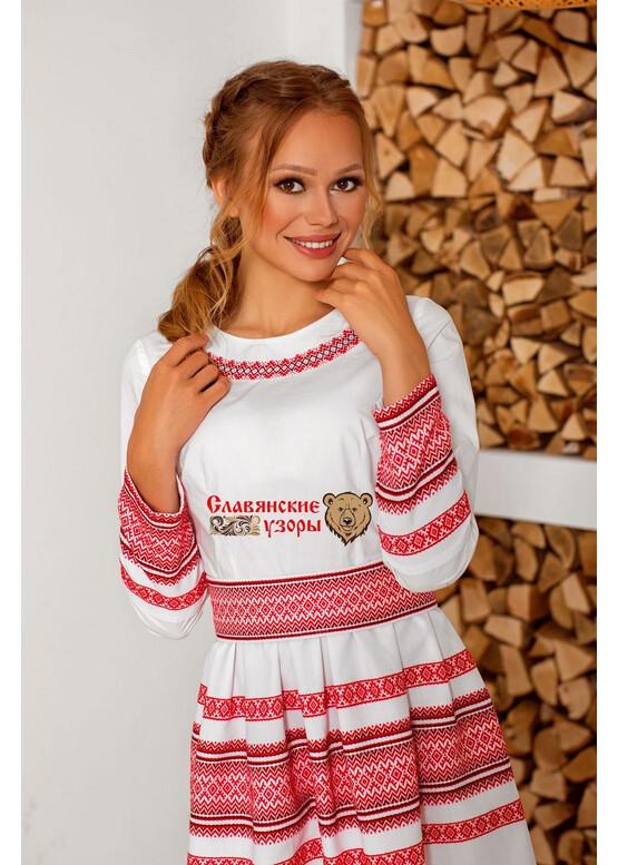 Платье русское Белослава (на красном)