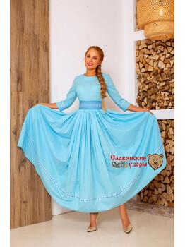 Платье голубое из хлопка в пол Надежда