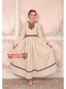 Платье с капюшоном Горожанка небеленое