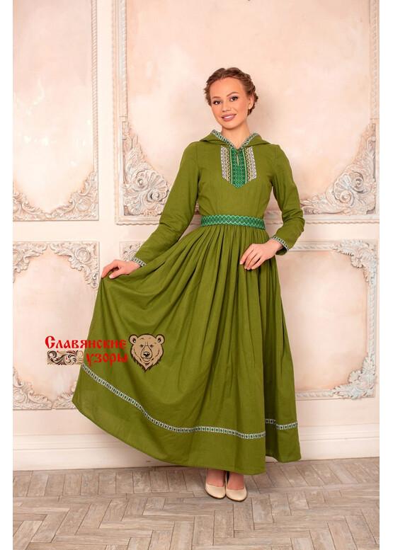 Платье с капюшоном Горожанка зеленое