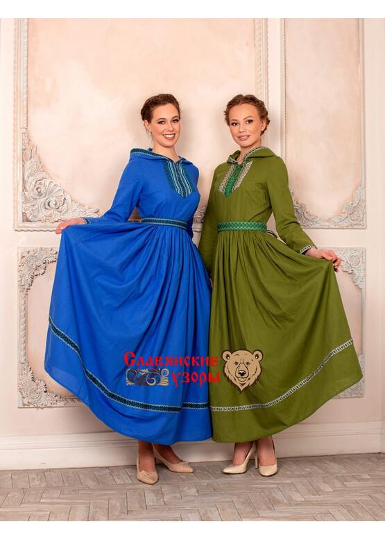 Платье с капюшоном Горожанка синее