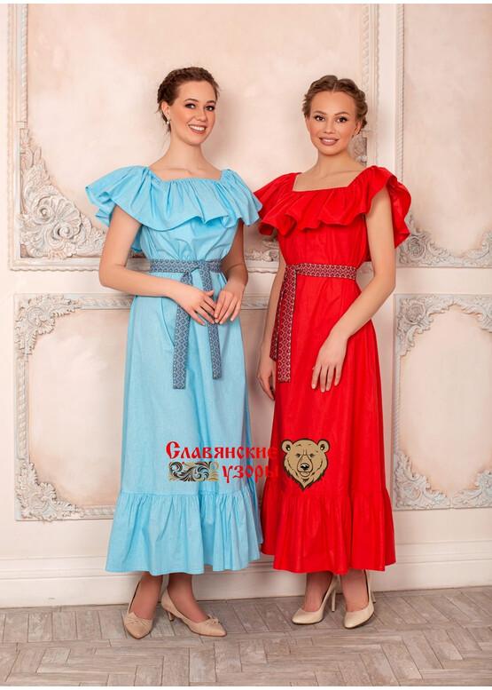 Платье с воланом Летящее голубое