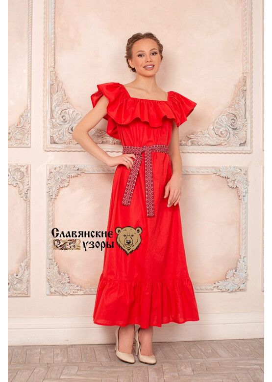 Платье с воланом Летящее красное