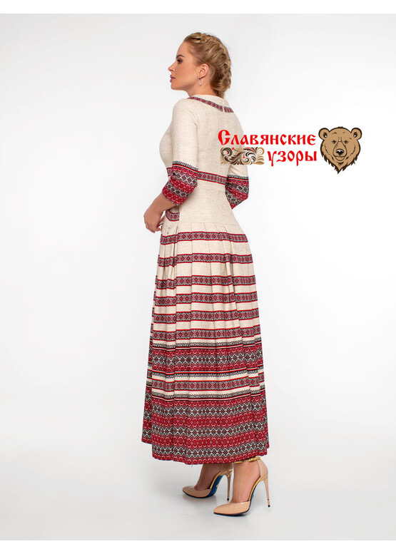 Платье в пол славянское Ладога красное