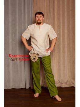 Мужская рубаха с коротким рукавом из небеленого льна