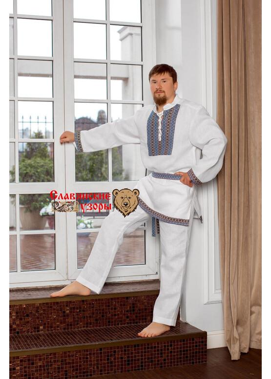 Рубаха мужская традиционная Белый Медведь (с голубым) с воротником