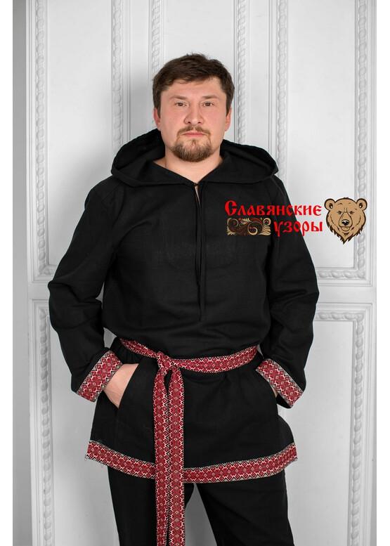 Рубаха мужская традиционная с капюшоном Радомир черная