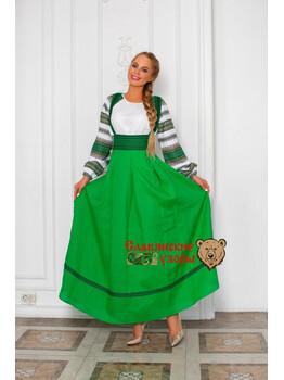 Сарафан льняной славянский Подгрудный зеленый