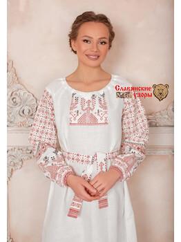 Платье льняное славянское Матушка Макошь белая