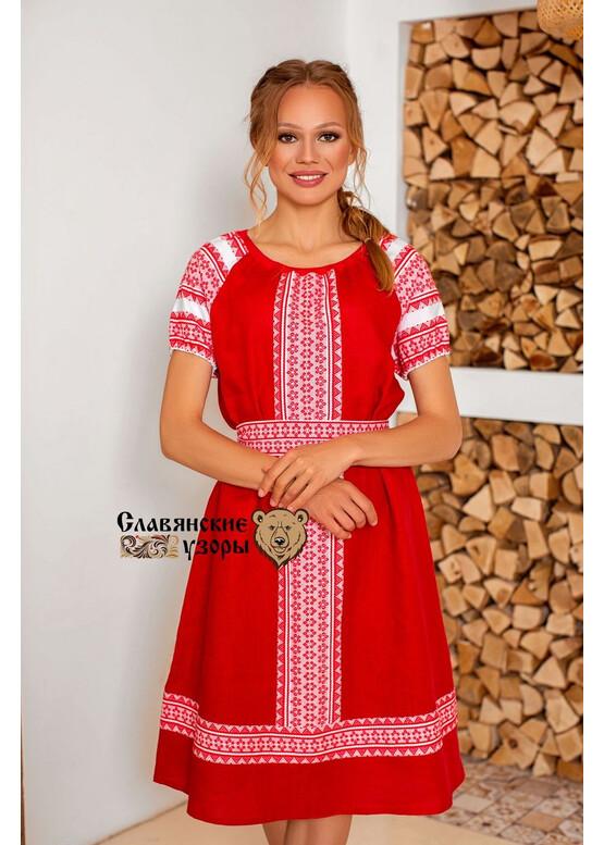Платье льняное с орнаментами Зорюшка миди