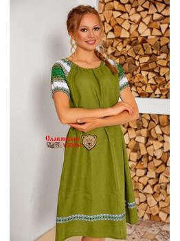 Платье изо льна Лесная фея миди