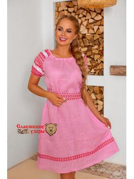 Платье льняное Девичьи мечты миди