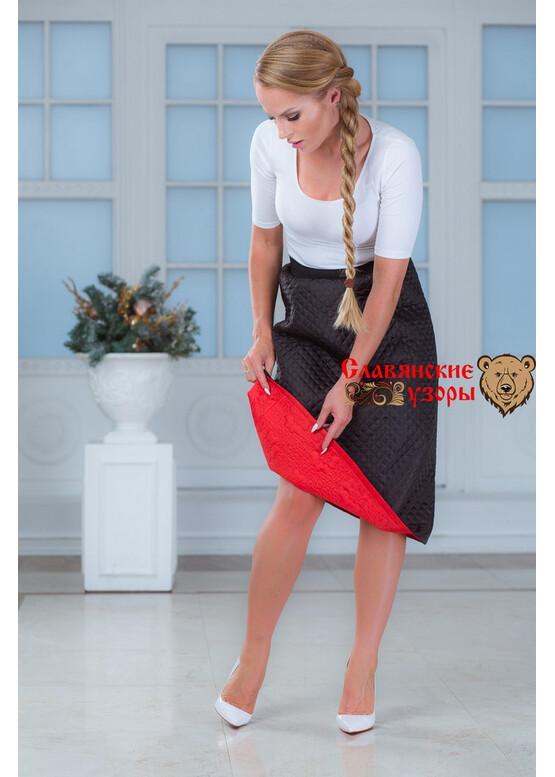 Юбка двухсторонняя синтепоновая на резинке чёрно-красная